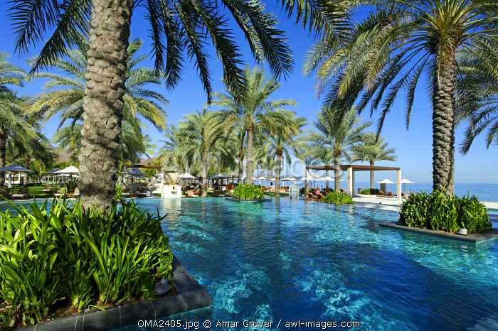 Oman, Muscat Governate, Muscat. The main swimming pool of the Al Bustan Palace Hotel.