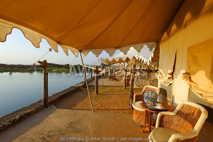 India, Rajasthan, Nimaj, Chhatra Sagar. This unique hotel offers luxury tents atop a 19th-century dam built by Thakur Chhatra Singh