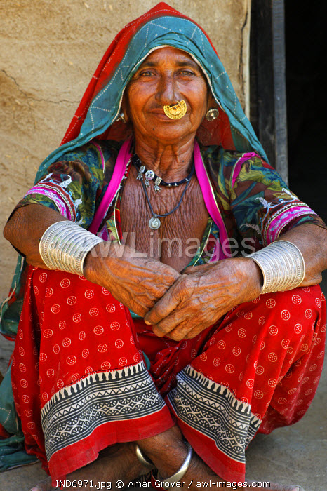 India, Rajasthan, Rohet. A Bishnoi woman; the Bishnoi (or Vishnoi) are a distinctive conservation-minded Hindu sect founded in the 15th century who adhere to strict tenets.