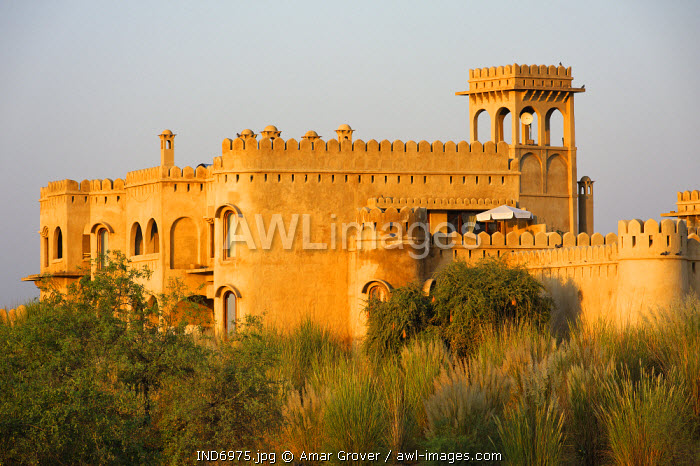 India, Rajasthan, Rohet, Mihir Garh. Mihir Garh, or Sun Fort, is a luxury hotel built to resemble a medieval Rajput fortress.