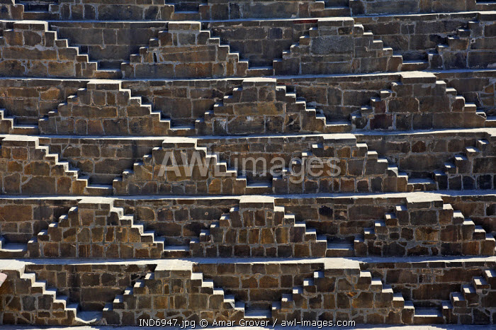 India, Rajasthan, Abhaneri. Originally excavated in the 9th century, Chand Baori (or Chand Stepwell) is among the largest and deepest such wells in Rajasthan