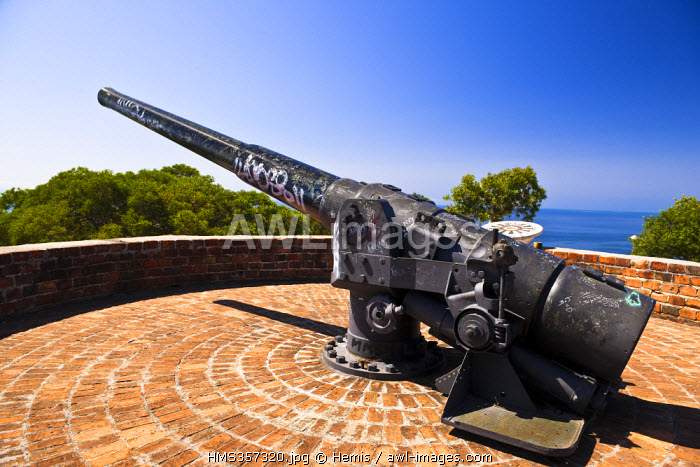 France, Nouvelle Caledonie, Noumea, the Ouen Toro is a hill located to the Extreme South of the Noumea Peninsula, the cannon