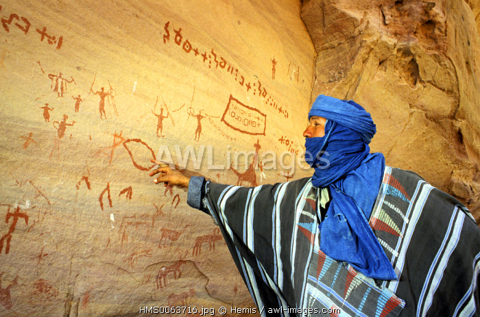 Algeria, Sahara area, Tassili n'Ajjer, rock paintings (about 10, 000 years old) in Aman Samedine valley
