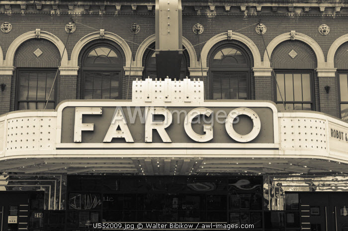 USA, North Dakota, Fargo, Fargo Theater, marquee