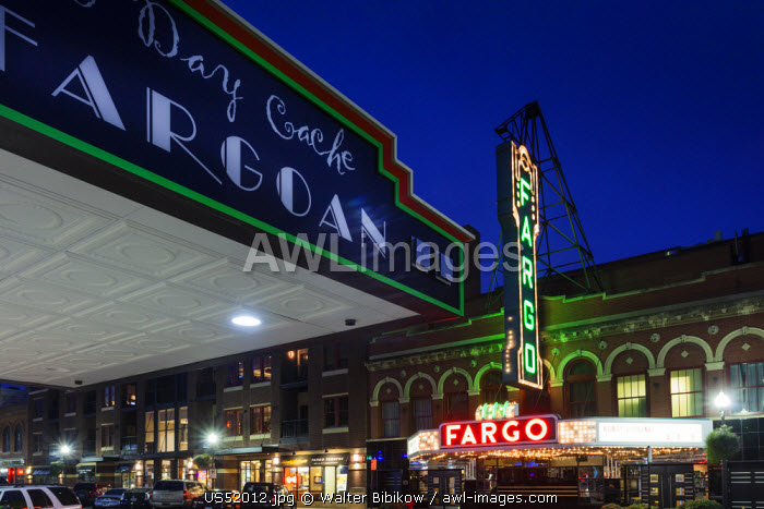 USA, North Dakota, Fargo, Fargo Theater, marquee