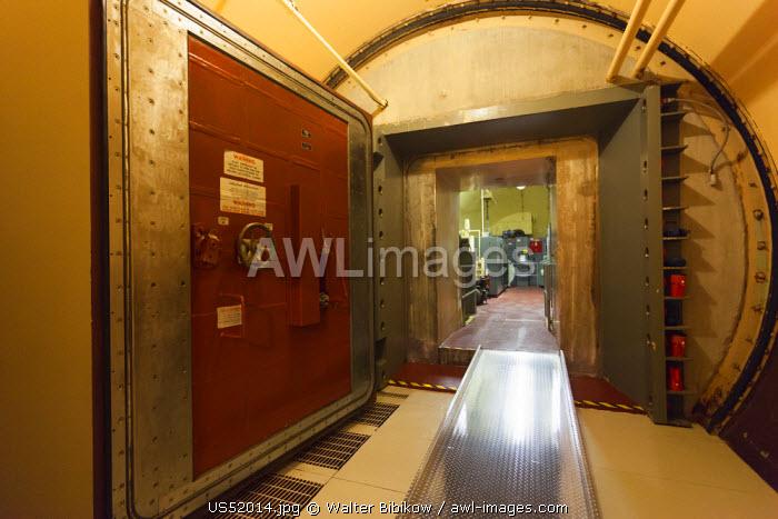 USA, North Dakota, Cooperstown, Ronald Reagan Minuteman Missile State Historic Site,  ICBM missile launch center, site Oscar-Zero, underground electronics bunker