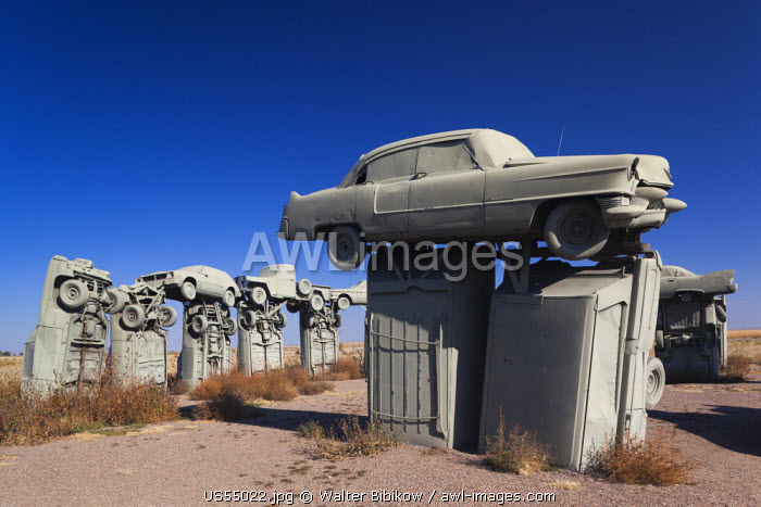 USA, Nebraska, Alliance, Carhenge, outdoor sculpture modelled on Stonehenge in England but made of old cars