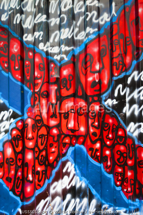 USA, Nebraska, Omaha, birthplace of black American leader Malcom X, painted cargo container