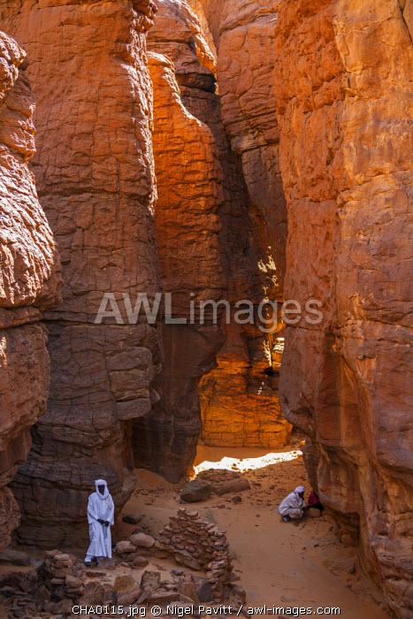 Chad, Abaike, Ennedi, Sahara. An ancient settlement for smelting iron ore among gigantic columns of red Palaeozoic sandstone.
