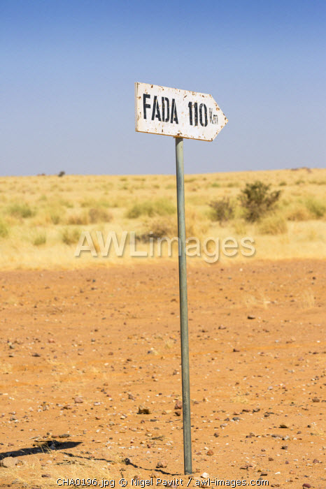 Chad, Kalait, Ennedi, Sahara.  A road sign between Kalait and Fada. Fada is a town of northeast Chad with an old French colonial fort.