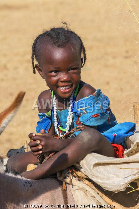 Chad, Arada, Biltine, Sahel.  A happy young Waddayens girl riding on a donkey.