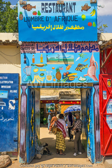 Chad, Abeche, Ouaddai, Sahel.  Tourists at the small restaurant L�Ombre D�Africque in Abeche, Chad�s fourth largest city.