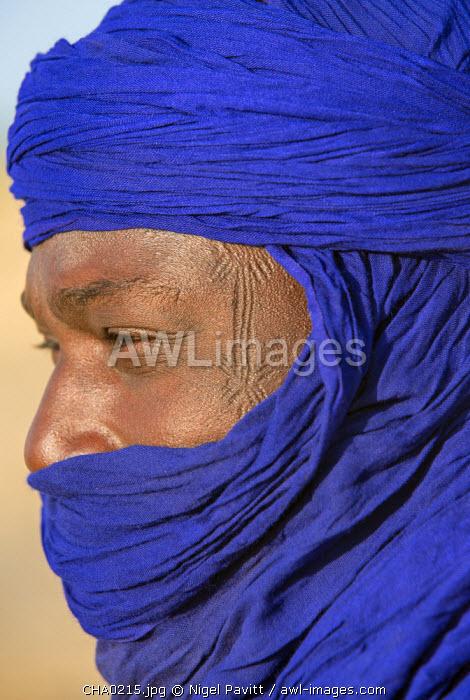 Chad, Bitkine, Guera.  A Tuareg man with tribal scarification.
