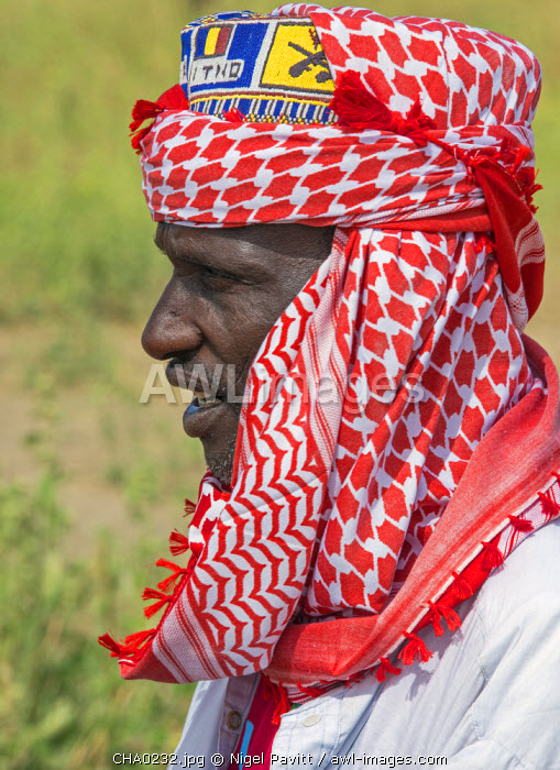 Chad, Arboutchatak, Guera, Sahel. A Peul man wearing a colourful headscarf or cheche.