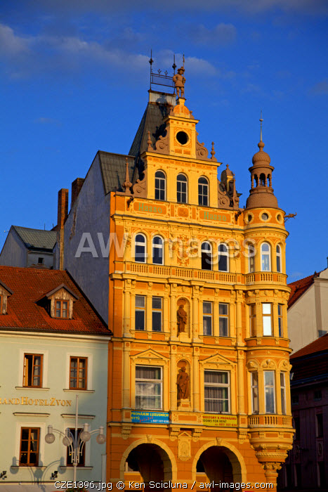 Central and Eastern Europe, Czech Republic, South Bohemia, Ceske Budejovice. Historical buildings in the main square