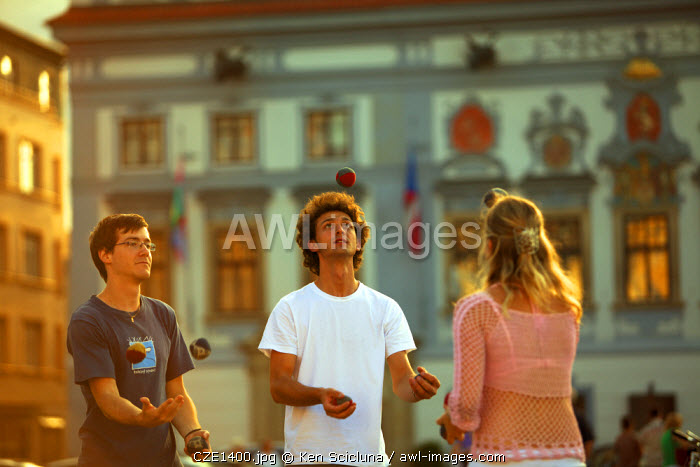 Central and Eastern Europe, Czech Republic, South Bohemia, Ceske Budejovice. Three youyhs playing in the historical centre