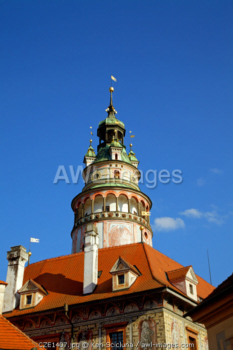 Central and Eastern Europe, Czech Republic, South Bohemia, Cesky Krumlov. Detail of the Tower of the Castle.