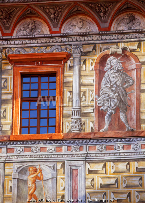 Central and Eastern Europe, Czech Republic, South Bohemia, Cesky Krumlov. Detail of frescoes on one of the facades of the Castle.