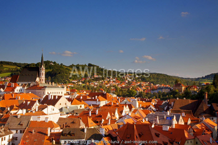 Central and Eastern Europe, Czech Republic, South Bohemia, Cesky Krumlov. Overview of the historical centre from the Castle.