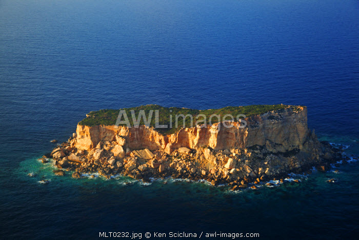 Mediterranean Europe, Malta. Aerial view of Filfla, a small rock off on the NW of the island