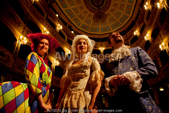 Mediterranean Europe, Malta. Musicians in costume before the beggining of an Opera at the Manoel Theatre