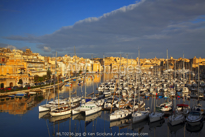 Mediterranean Europe, Malta. Yachts in the port in Vittoriosa