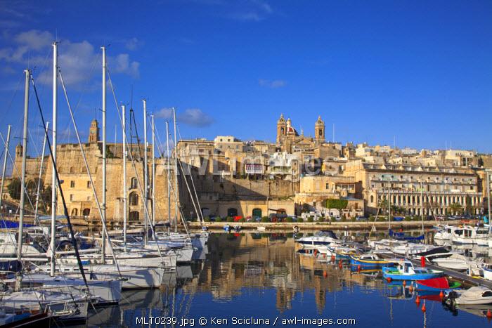 Mediterranean Europe, Malta. Yachts in the port in Vittoriosa