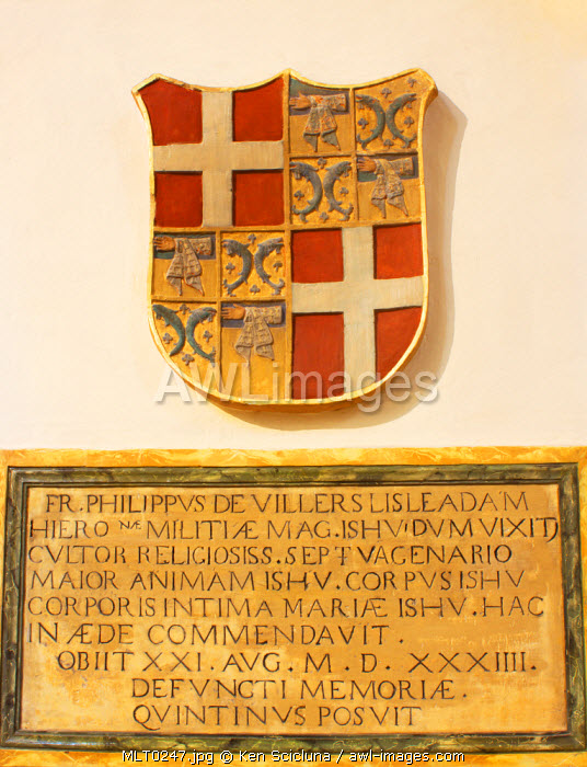 Mediterranean Europe, Malta. Coat of arms  dating back to the times of the Knights of St.Johm of Jerusalem rule in Malta, in Rabat
