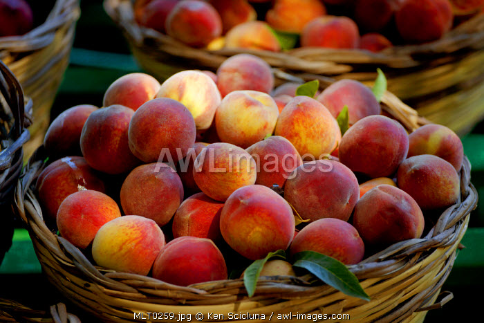 Mediterranean Europe, Malta. Fruit in baskets at one of the important traditional feast l imnarja, derived from the sicilian luminaria, a feast dedicated to St Peter and St Paul