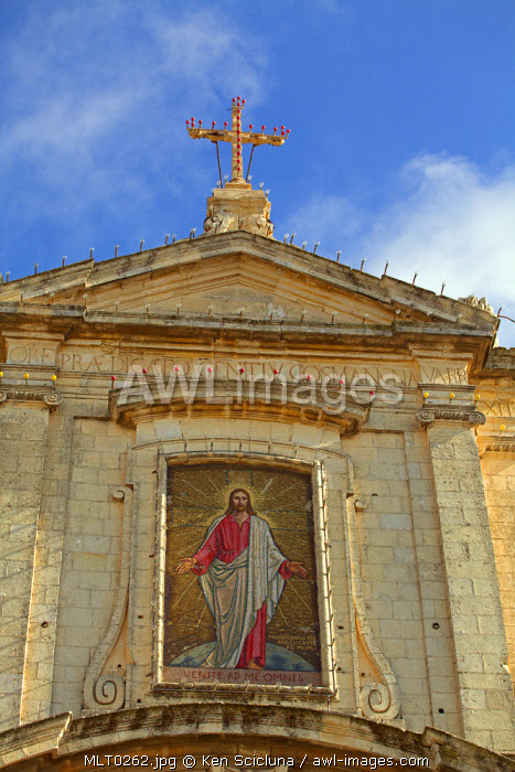 Mediterranean Europe, Malta. Christ ressureccted on a mosaic on the facade of the Cathedral of Rabat