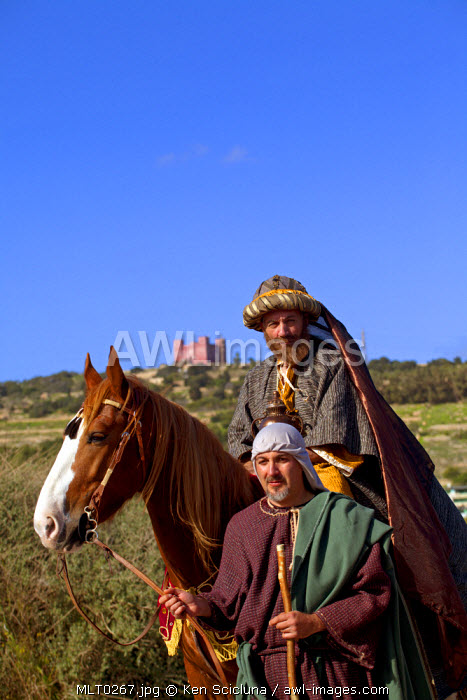Mediterranean Europe, Malta. Re enactment of one of the magi in the bible who present gifts to baby Jesus