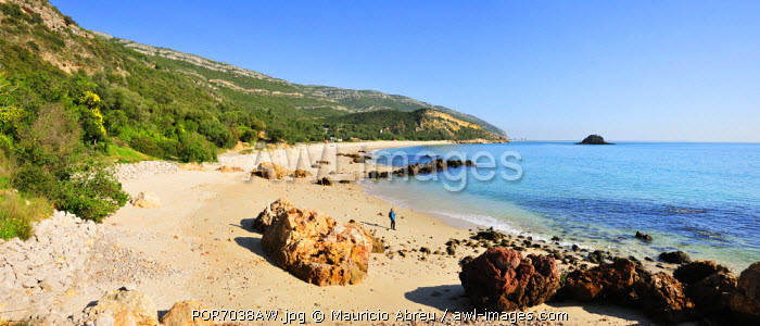 The beach of Portinho at Arrabida Natural Park. Portugal (MR)