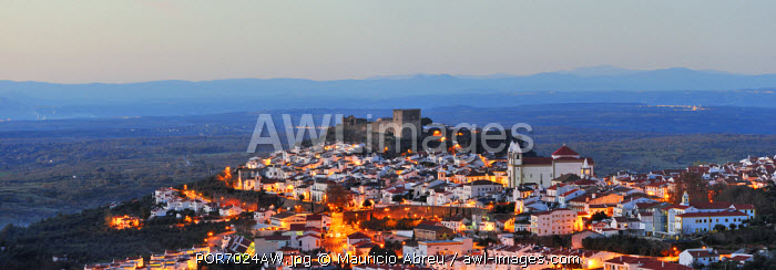 The historical village of Castelo de Vide at twilight. Alentejo, Portugal