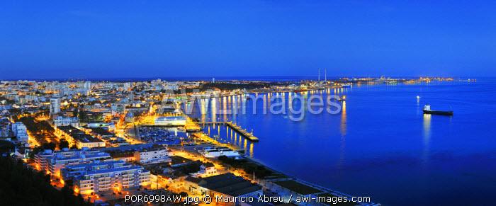 Setubal and the Sado river bay at twilight. Portugal