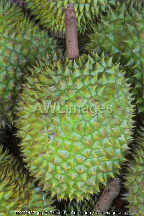 Vietnam, Ho Chi Minh City, Ben Thanh Market, Fruit Stall Display of Durians