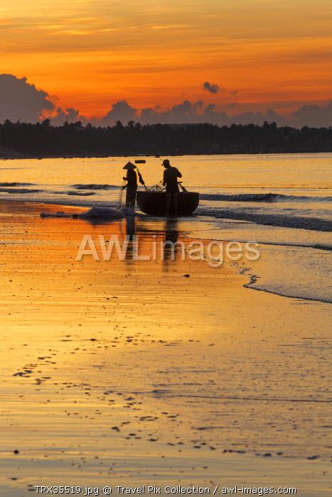 Vietnam, Mui Ne, Mui Ne Beach, Net Fishermen at Dawn