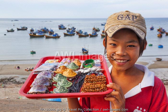 Vietnam, Mui Ne, Mui Ne Beach, Young Child Selling Souvenir Seashells