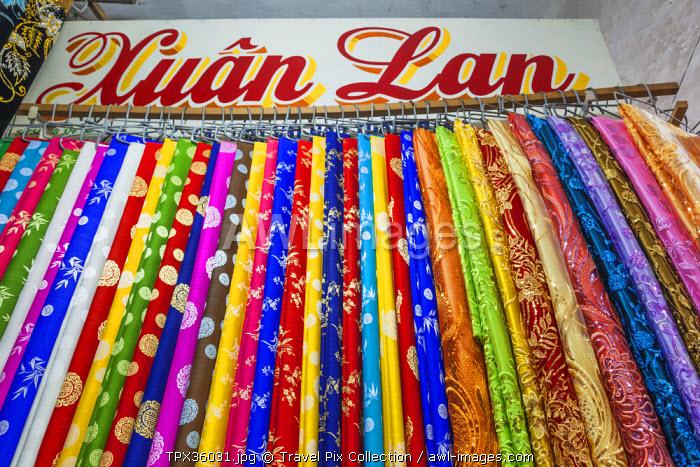 Vietnam, Nha Trang, Dam Market, Material and Fabric Stall