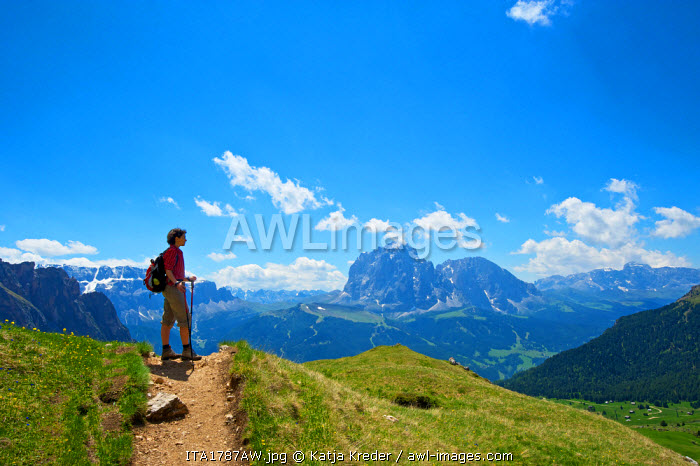 Hiking, Seceda, Val Gardena,  Trentino, South Tyrol, Italy MR
