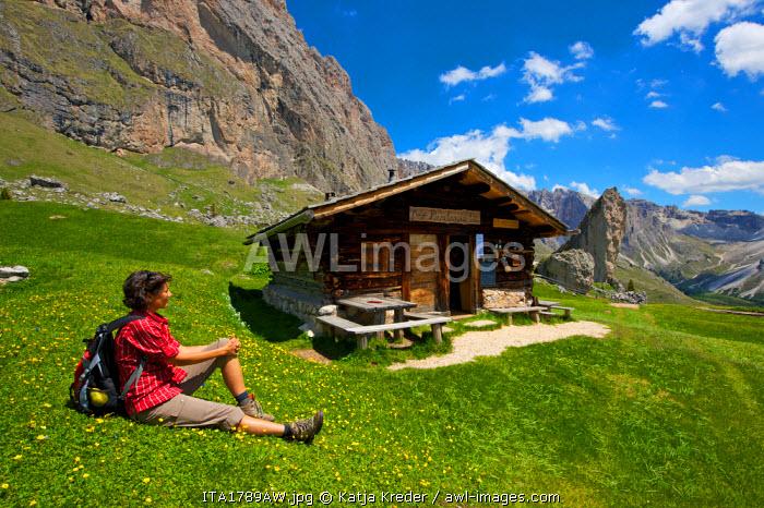 Hiking, Val Gardena, Seiser Alm, Trentino, South Tyrol, Italy MR