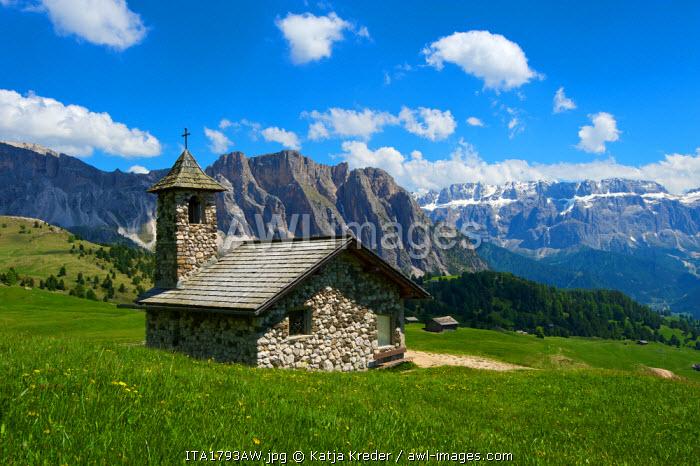 Church, Seceda, Val Gardena,  Trentino, South Tyrol, Italy
