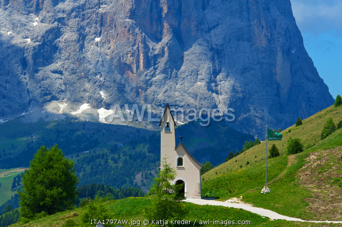 Chapel, Dolomites, Seceda, Val Gardena,  Trentino, South Tyrol, Italy
