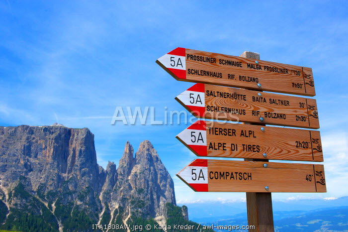 Sign Posts, Hiking Trails, Seiser Alm, Trentino, South Tyrol, Italy