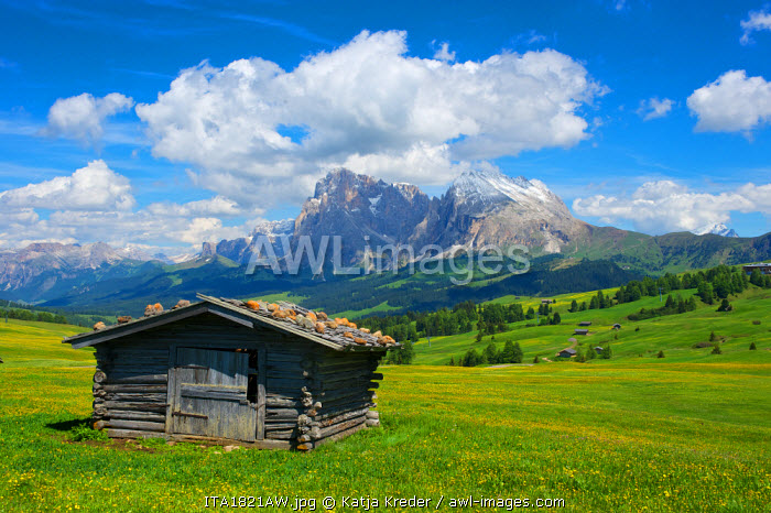 Chalet, Langkofel, Dolomites, Seiser Alm, Trentino, South Tyrol, Italy