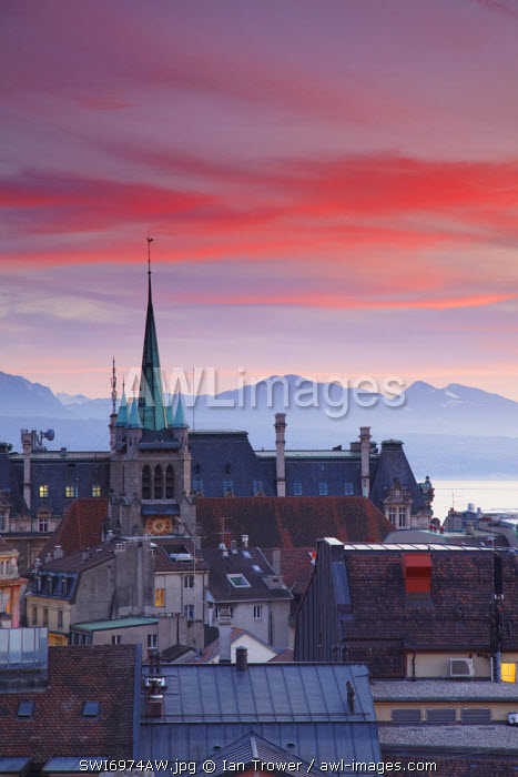 St Francois Church and city skyline at dusk, Lausanne, Vaud, Switzerland