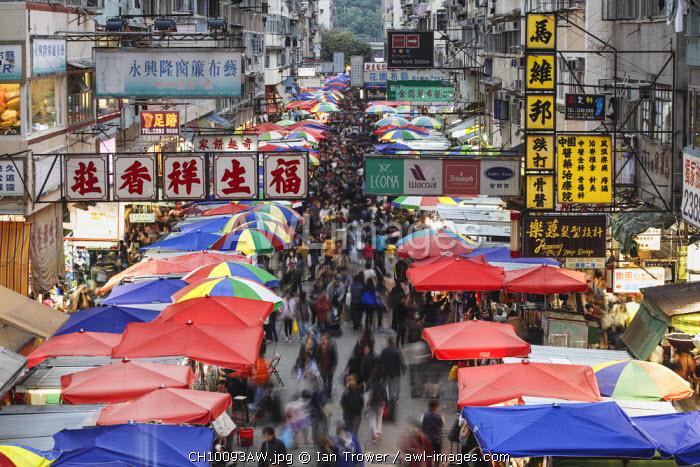 Crowds at Fa Yuen Street Market, Mongkok, Hong Kong, China