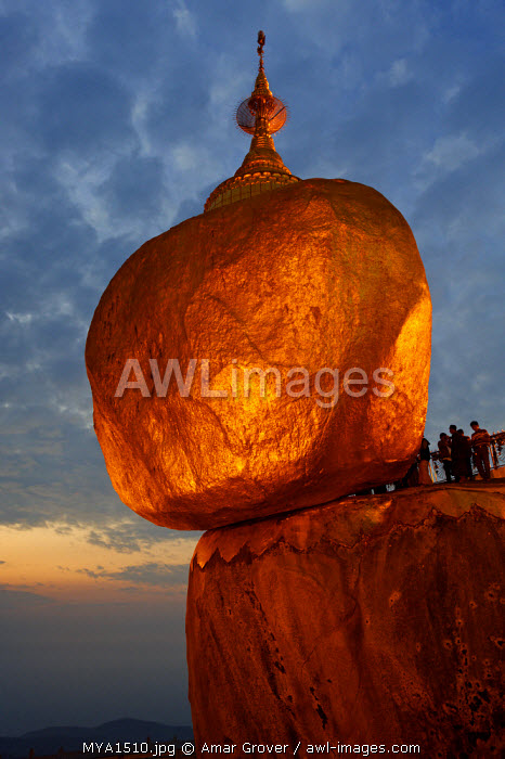 Myanmar, Burma, Mon State, Mt Kyaiktiyo. Mt Kyaiktiyo, or Golden Rock as it is popularly known, due to the continual application of gold leaf by male pilgrims, is one of Burma's most celebrated pilgrimage sites.