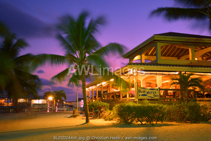 Restaurant at night in San Pedro, Ambergris Caye, Caribbean, Central America
