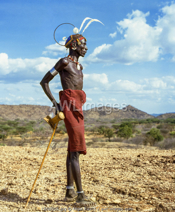 awl-images.com - Kenya / Kenya, Nginyang, Baringo County. An old Pokot man wearing a traditional, distinctive clay bun hairstyle decorated with ostrich feathers.