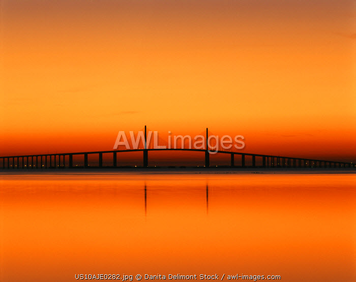 USA, Florida, Sunshine Skyway Bridge over Tampa bay from Fort De Soto Park (Large format sizes available)